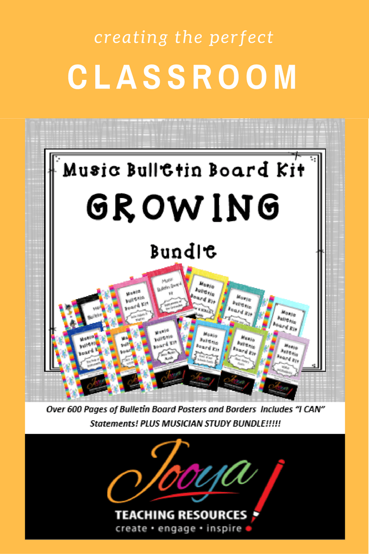 Music Class Bulletin Board Bundle by Jooya Teaching Resources. Save yourself hours and $$$ with this value packed kit. It contains 12 Different kits, with alphabet bunting, borders, large and small format instruments/chords/diagrams and I can statements. You can mix and match throughout the year and it will always look great. Print onto colored paper to match your classroom décor OR have your students color each part and proudly display.