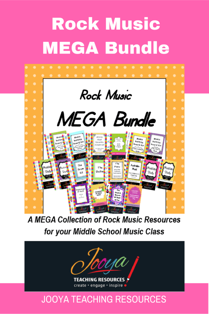 Rock Music Mega Bundle from Jooya Teaching Resources. This collection of Music Resources is perfect for the Middle School Music classroom. All these resources are classroom tested and I still use all of them today with my own Year 7 and 8 Music classes. The Bundle includes- 5 complete units of work, 4 Musician Studies, 3 Mini Units of Work, 2 Assignments and 4 Bulletin Board Kits. To purchase all these resources individually would cost over $100!