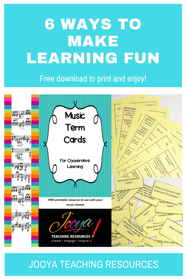 Blog Post with a FREE Resource from Jooya Teaching Resources. Download the Music Term Cards and use the lesson ideas with all your classes.