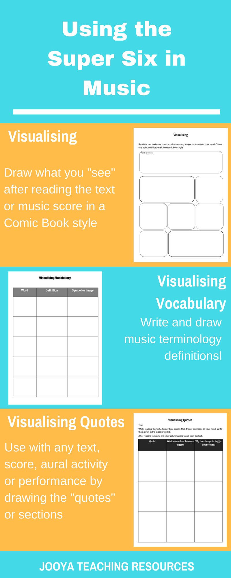 Super Six blog post on Visualising by Jooya Teaching Resources. Discover 10 ways to use Visualising in your music class to improve literacy and musical skills with your students.