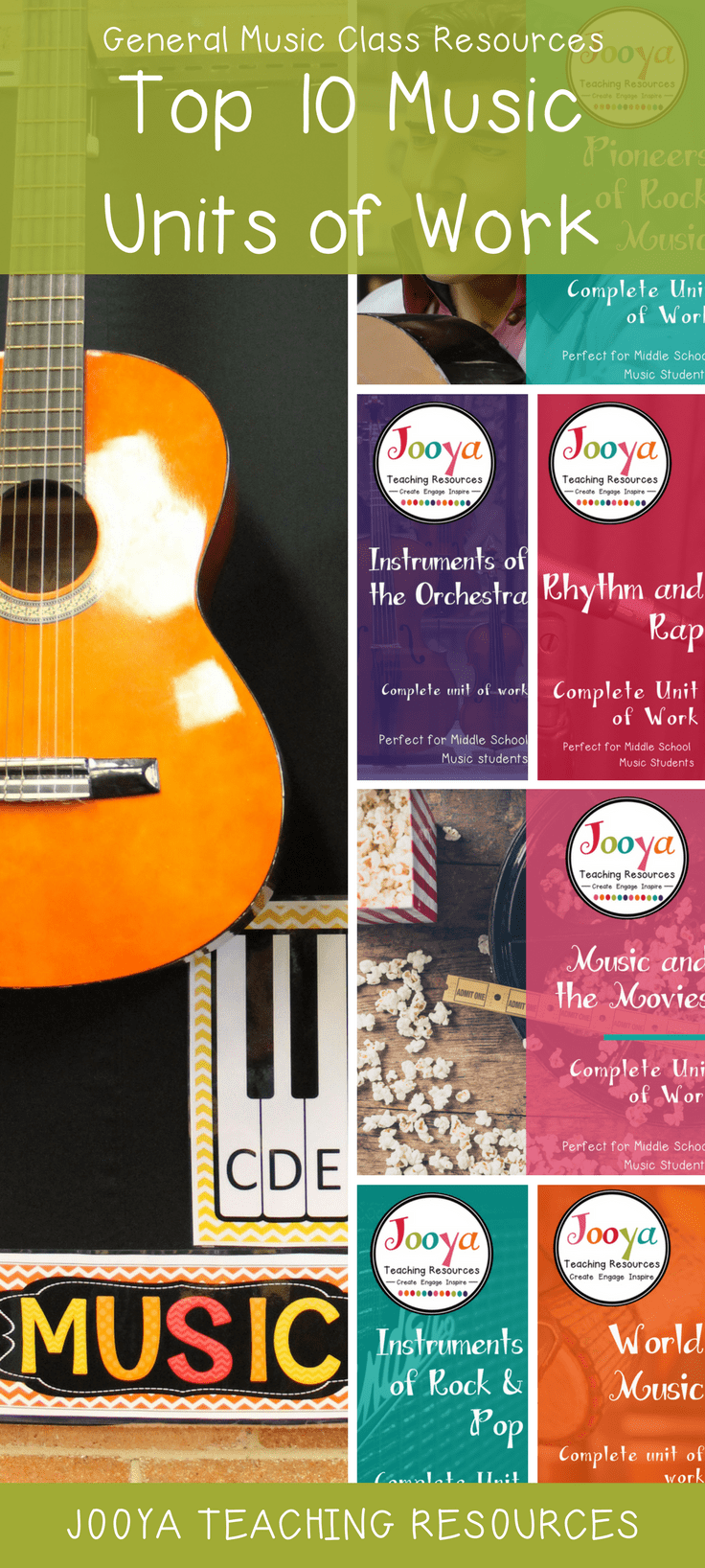 Top 10 Music Units of Work for the General Music classroom from Jooya Teaching Resources.