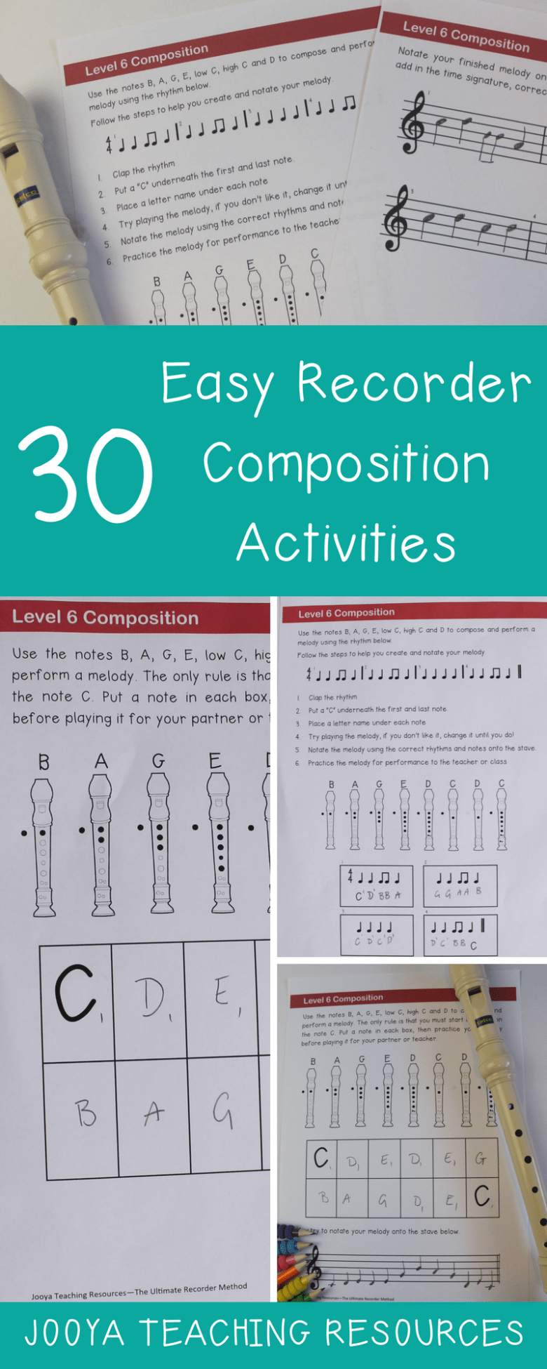 Easy Recorder Composition Blog Post from Jooya Teaching Resources