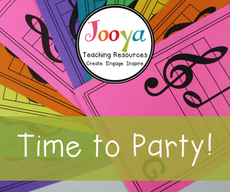 Time to Party Blog post from Jooya Teaching Resources. Grab your 1000 Followers Freebie- Large Treble Clef Cards.
