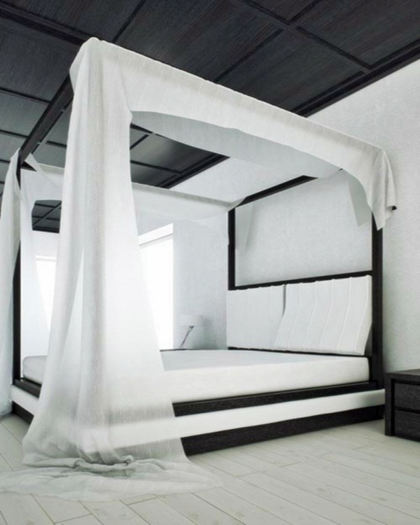 Elegant-Black-and-White-Canopy-Bedroom
