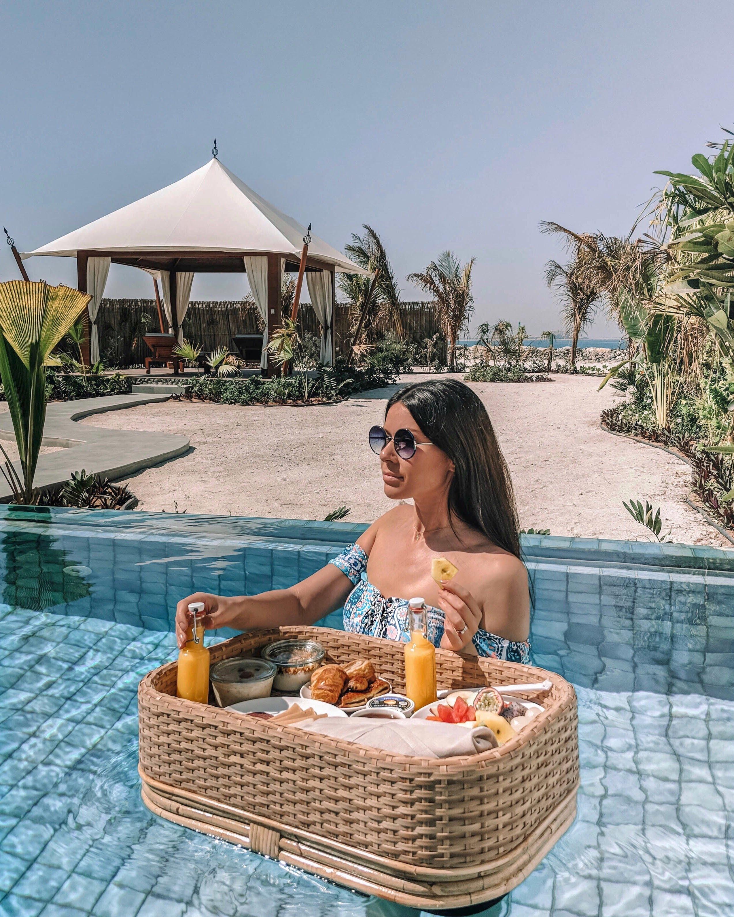 floating breakfast at Ritz-Carlton Al Hamra