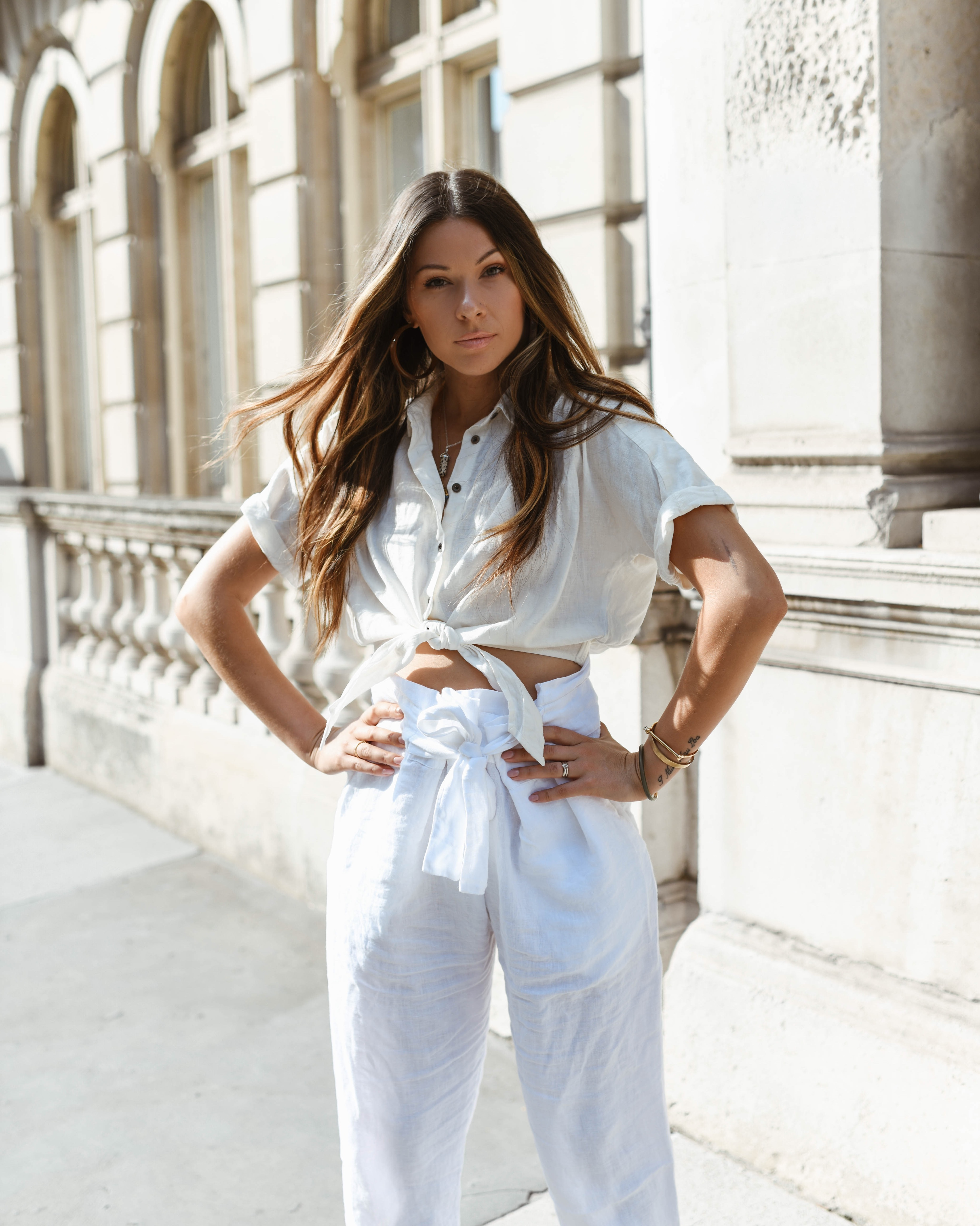 white linen outfit