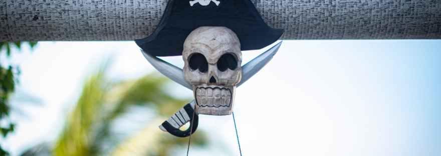 black and white skull hanging decor