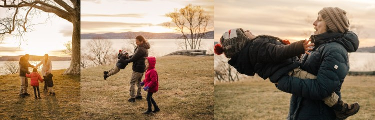 winter family photo session - play games to stay warm