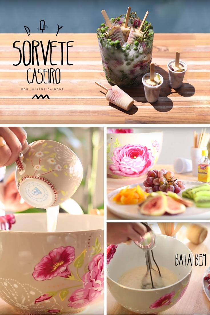 Receita -Este sorvete caseiro de frutas é fácil de fazer e gostoso demais! Poucos ingredientes, saudável e rápido de fazer!