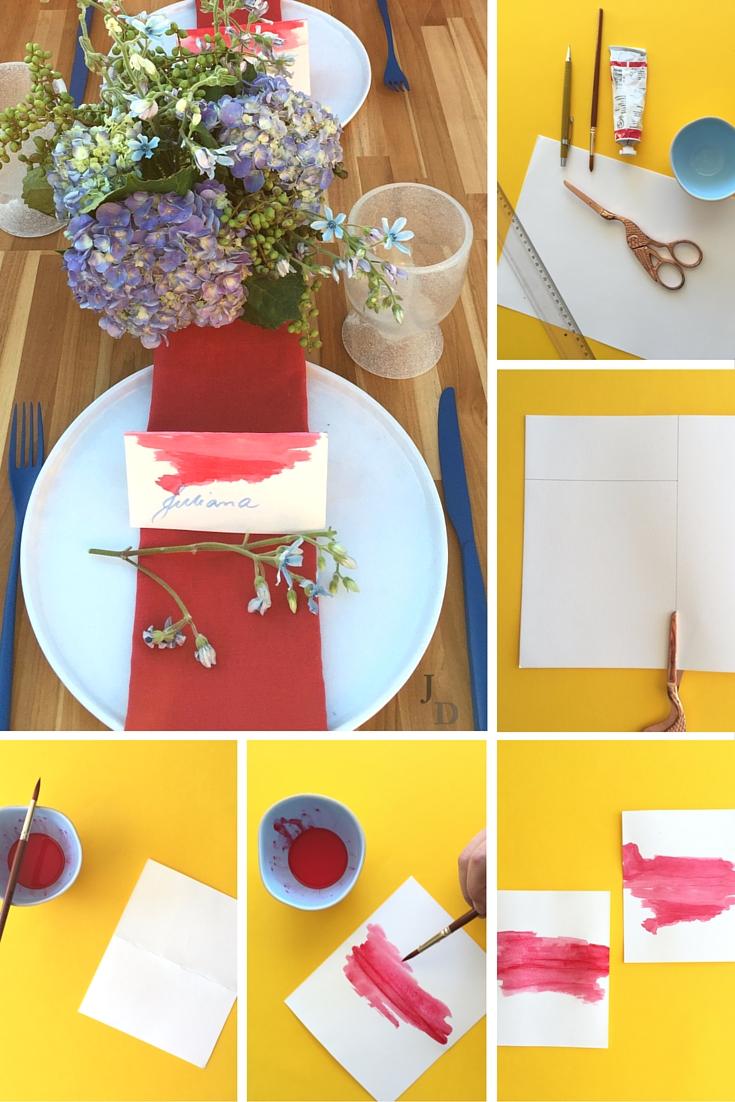 Diy-marcador de lugar com aquarela diferente e criativo ajuda a dar estilo e elegância ao seu jantar ou almoço. Este é muito fácil e esbanja charme!