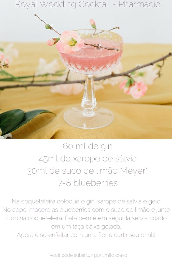 "Aqui vai a segunda receita da série ""Os drinks mais lindos do Instagram"", do site Pharmacie LA: o Royal Wedding Cocktail. Um drink digno da nobreza!"