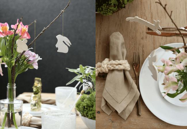 Arranjo de flores com coelhos de cerâmica fria