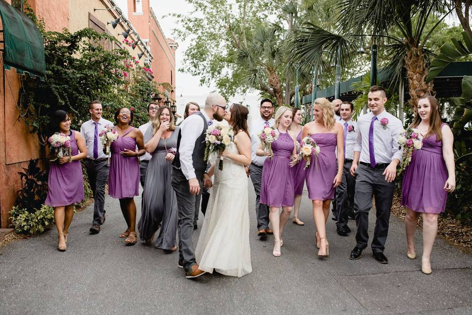 Entire bridal party walking