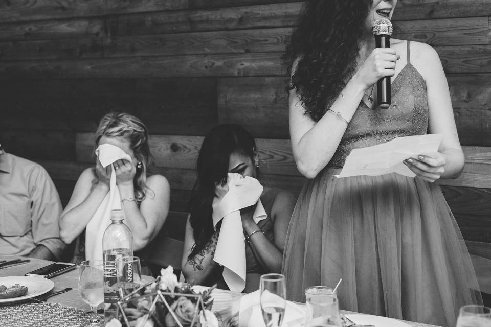 Bridemaids crying during maid of honor speech at omaha reception