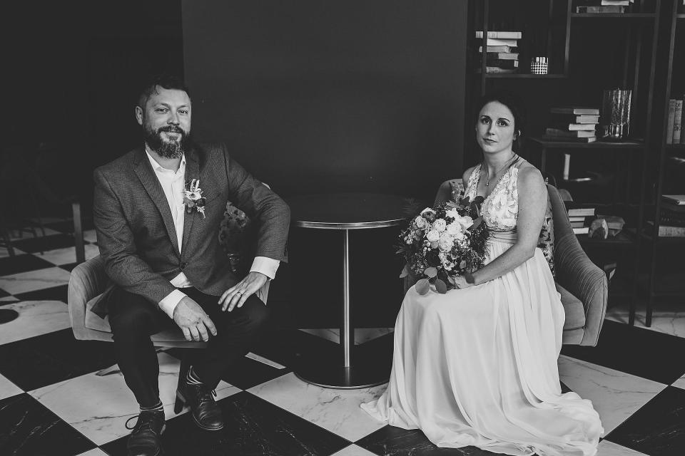 Omaha Wedding; Bridal & Groom Portraits at Hotel Deco; Florals by One & Only; Photographed by Juliana Montane Photography