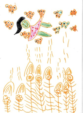 Girl flying over flowers with fairies or butterflies