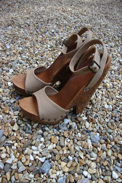 Stella McCartney carved wooden wedges