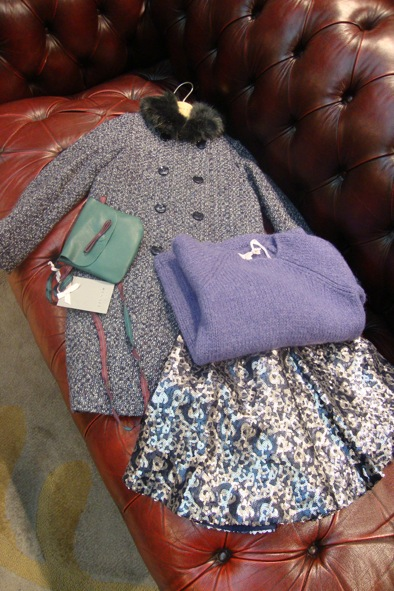 Jigsaw Junior faux fur coat, Jigsaw J skater sequin skirt, Jigsaw J dip hem chunky knit jumper & Jigsaw J leather mini bag