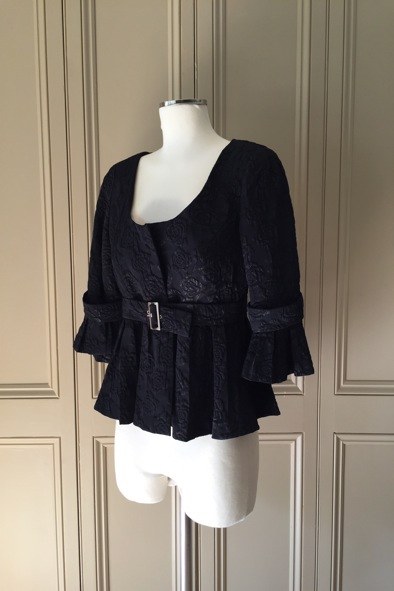 Anne Fontaine black quilted brocade belted jacket