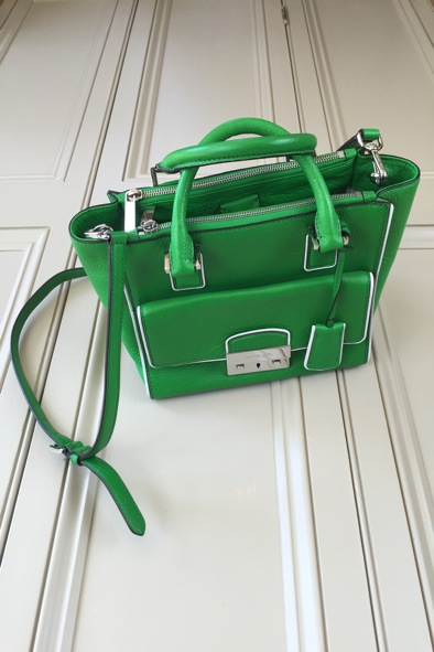 Michael Kors green leather bag