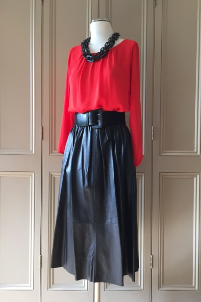 "Malene Birger red chiffon ""Eralita"" top and black leather skirt"