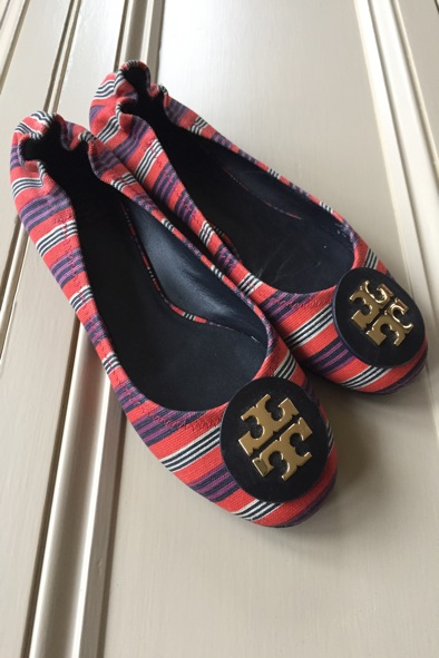 Tory Burch multi-coloured stripe pumps