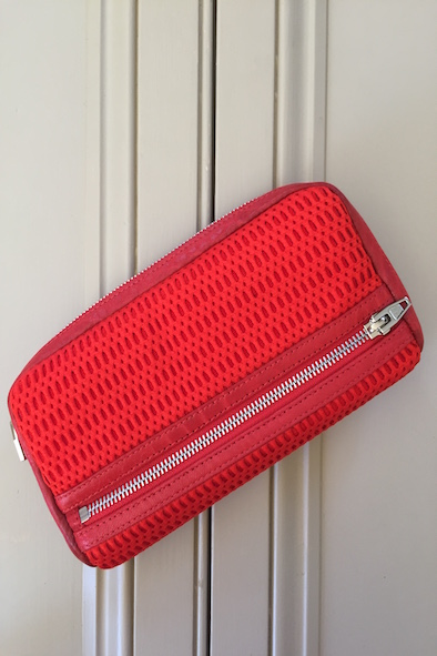 ALEXANDER WANG FUMO RED NEOPRENE WAFFLE WALLET WITH LEATHER TRIM