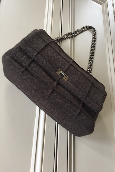 Chanel brown wool bag with double chain strap