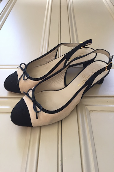 Chanel two tone suede and grosgrain slingback heels