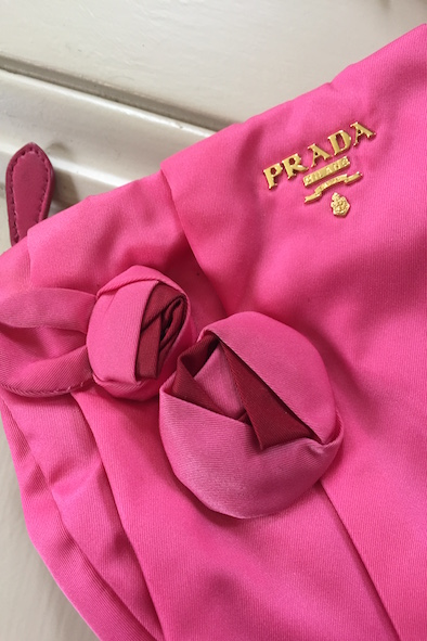 Prada pink nylon mini bag with leather wristlet