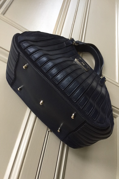 Anya Hindmarch small navy Belvedere leather and suede bag