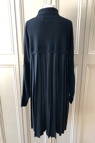 Amanda Wakeley black cashmere roll neck dress with silk pleated back