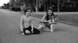 John, Julia and Zoe (photo 2) in front of our house about to embark on a walk July 14, 2012