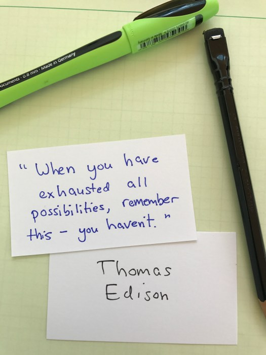 handwritten cards with thomas edison quote by julian gude