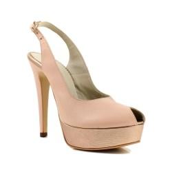 Pantofi din piele naturala nude cu toc de 14 cm si platfoma de 4 cm