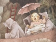 Faceless goblins steal the infant, replacing it with an ice baby, in Maurice Sendak's 'Outside Over There' (1989).