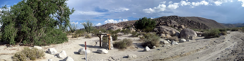 The road up Mine Wash runs just west of the primary village area, although evidence of historical occupation radiates to the south west and southeast many hundreds of feet.