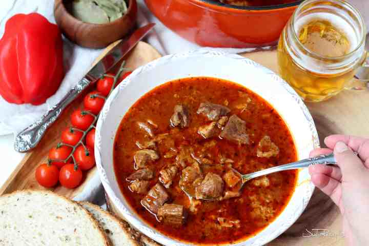 traditional goulash with piece of bread