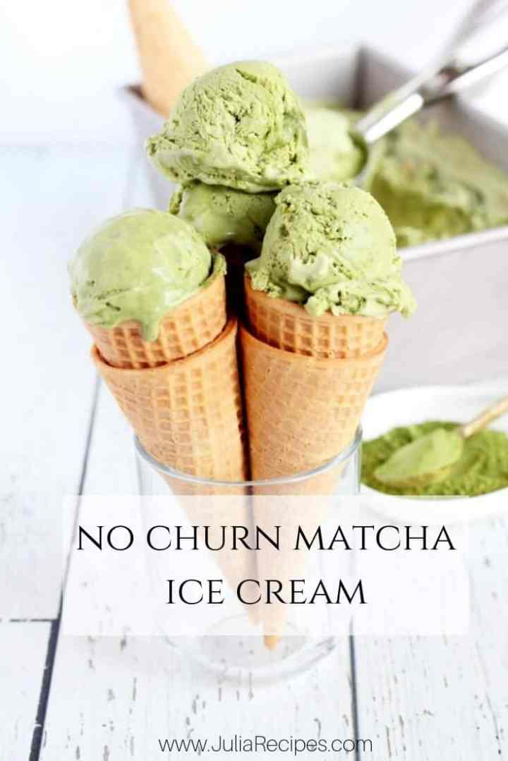 matcha green tea no churn ice cream scooped in waffle cones