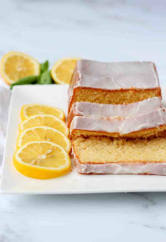 Lemon pound cake with lemon drizzle