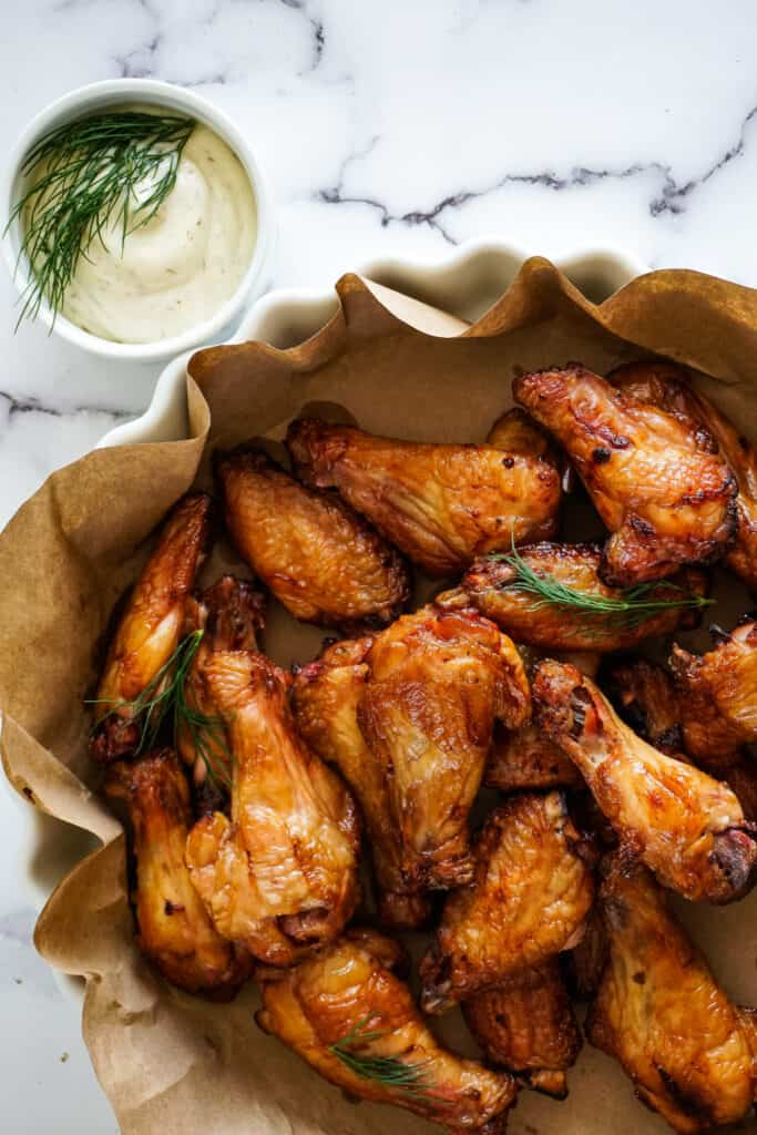 Dill pickle brined smoked chicken wings