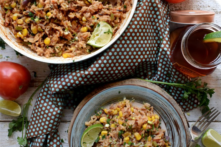 over head table setting view of the mexican style rice