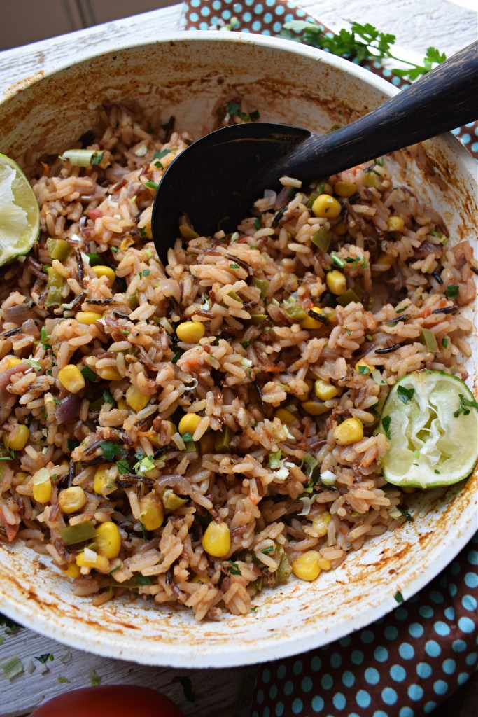 Mexican Style Rice fluffed in a skillet