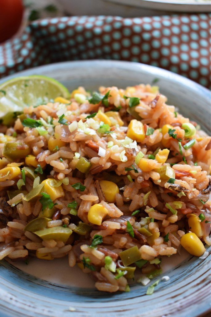 close up of Mexican Style Rice on a plate