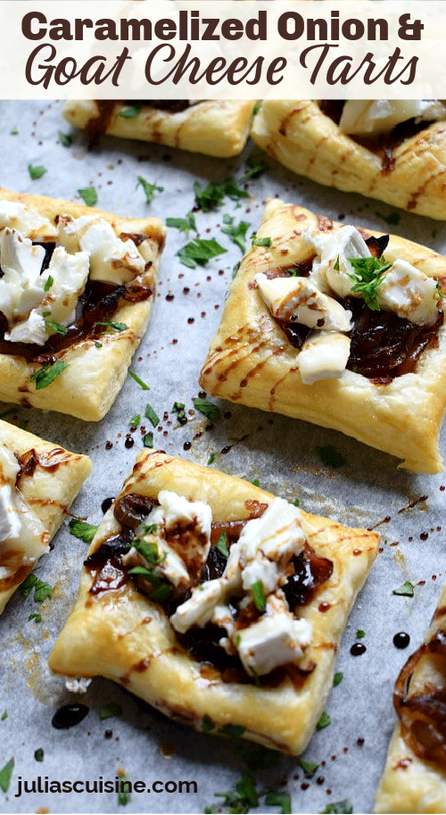 pin image for caramelized onion and goat cheese tarts