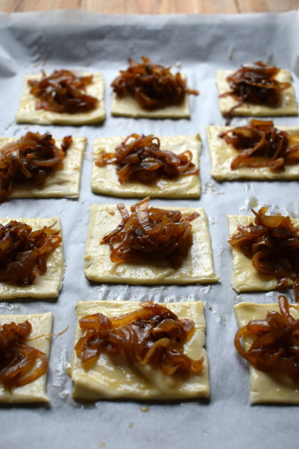 caramelized onions on puff pastry