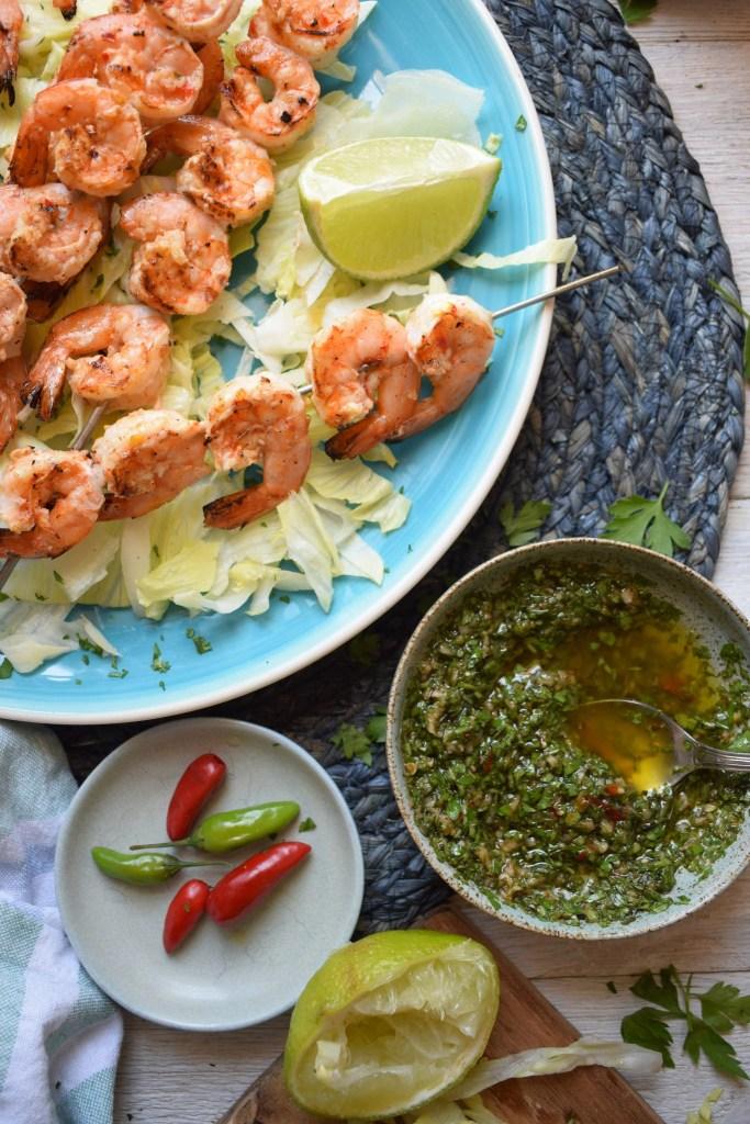 shrimp skewers with salsa