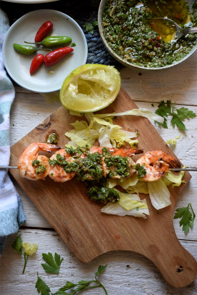 Grilled shrimp with chimichurri salsa
