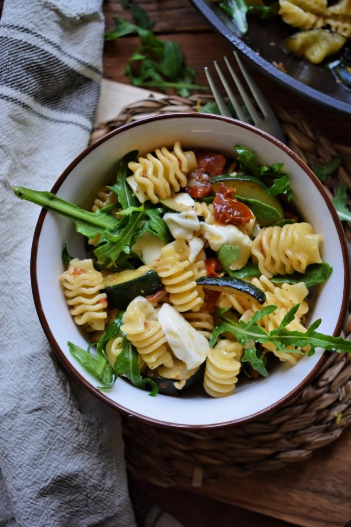 Zucchini Pasta Salad in a Lemon Vinaigrette in a bowl