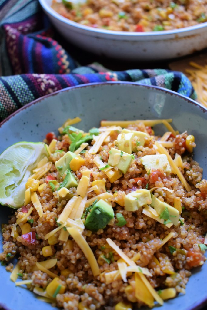 Southwestern Quinoa in a bowl with toppings